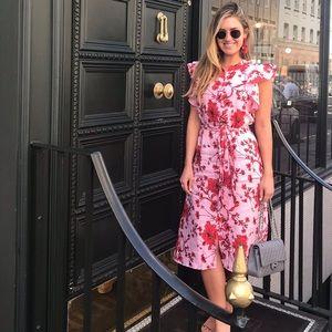Pink and red floral Zara midi printed dress